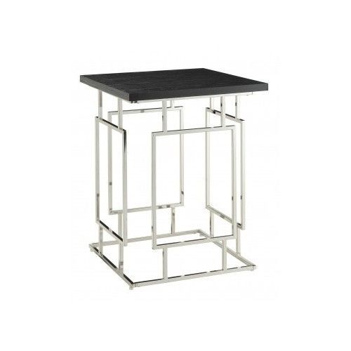 Ebony-Wood-And-Metal-Side-or-Sofa-Table-Modern-Contemporary-Chic-Luxe-Design-New