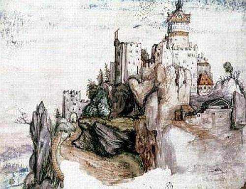 Castle Segonzano, 1502, gouache and watercolor on paper by Albrecht Durer, German, 1471-1528.  Durer was a painter and printmaker as well as an engraver and woodcut artist. This watercolor is in a private collection.