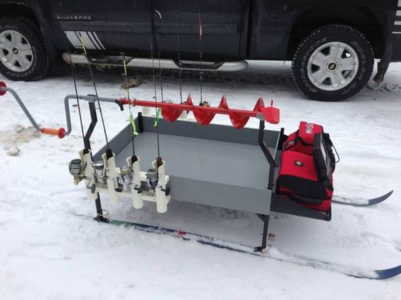 Nice clean smitty sled design i usually use a power for Ice fishing augers
