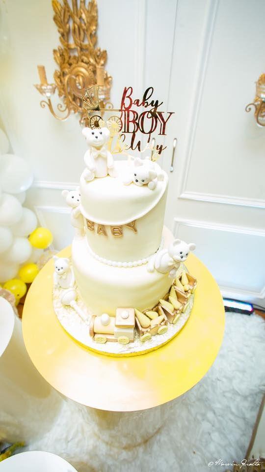 Glam Yellow And White Teddy Bear Baby Shower White Teddy Bear