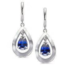 CleverEve Luxury Series September Birthstone Sterling Silver Pear Shape Earrings w/ Natural Genuine Sapphire Center 2.92 ct tw