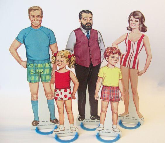 Paper Dolls 5 Figures Family Affair Complete Set Original Box 1968. $19.00, via Etsy.