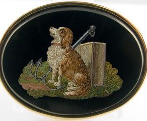 Victorian Micro Mosaic Jewelry | victorian micro mosaic dog brooch | Tiny Little Dog--Jewelry