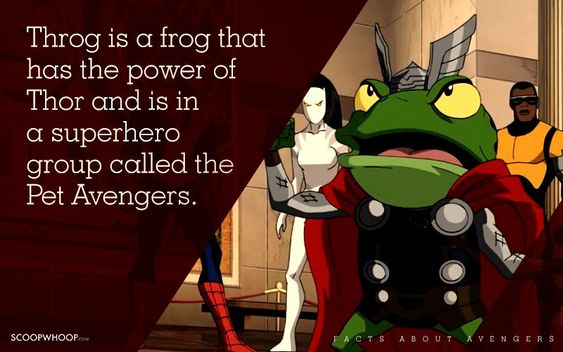 Throg is a frog that has the power of Thor and is in a superhero group called the Pet Avengers.