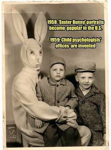 That bunny is frickin creepy i mean look at it this looks like it would be in a murder movie starring the easter bunny: