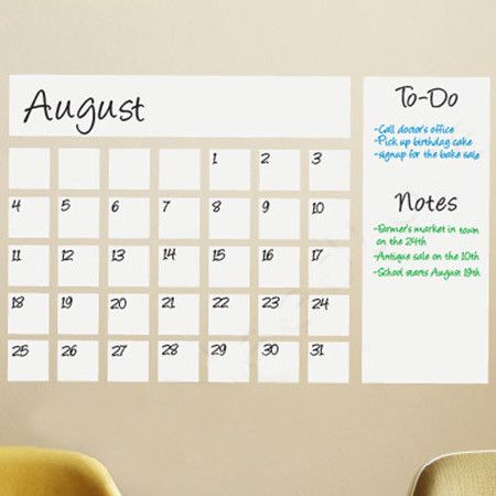 The perfect addition to your busy office or entryway, this dry-erase calendar wall decal helps keep track of appointments, birthdays, vacations, and more.