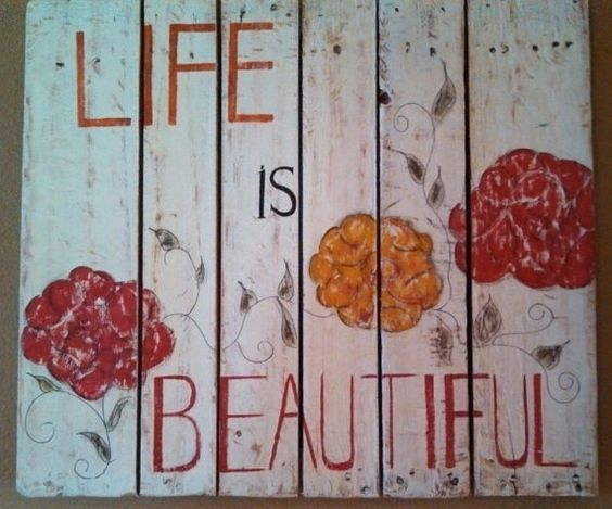Life Is Beautiful Pallet Sign by KristaJBrock on Etsy, $125.00