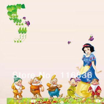 Spedizione gratuita: promozione di alta qualità bambino principessa preferito Biancaneve cartoon figura autoadesivo della parete miscelabili yp006 bambino in camera
