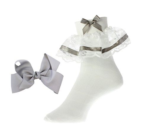 Ladies Fancy Lace & Ribbon Bobby Socks with Hair Bow $5.99