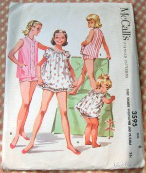 Girls' Baby Doll Nightgown/Pajamas Vintage Sewing Pattern McCall's ...