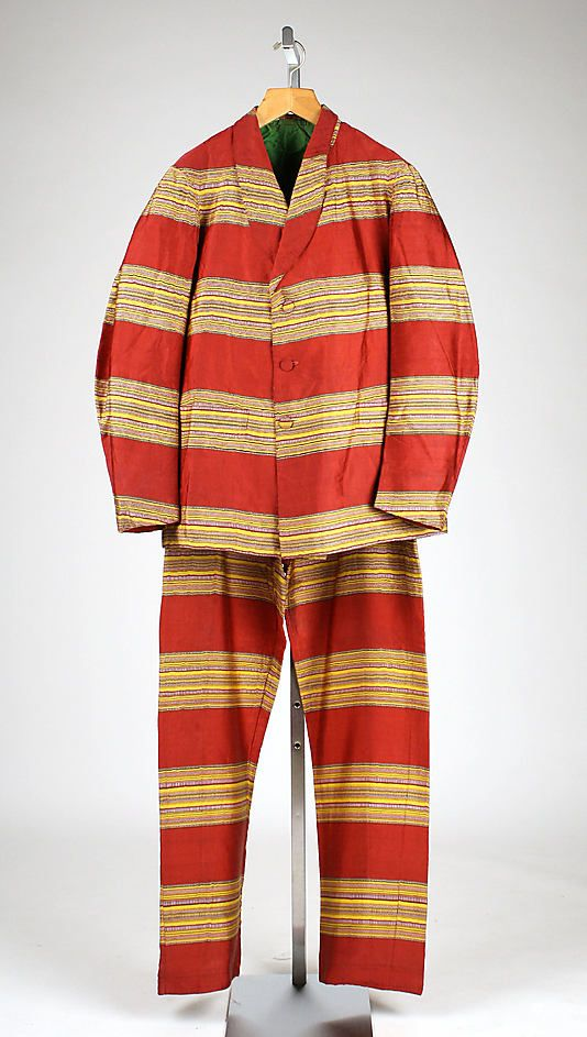 Man's striped silk lounge suit, American, ca. 1860.
