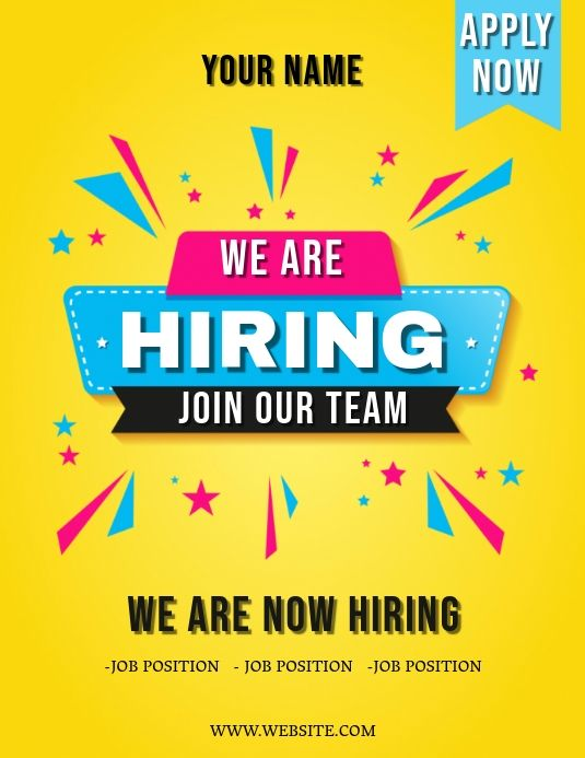 We Are Hiring Flyer Template Hiring Poster Flyer Template Poster Template