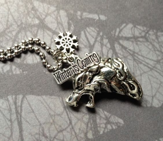 House Stark Winter is Coming Wolf Sigil Game of Thrones Pendant Charm Necklace by AngelQ on Etsy