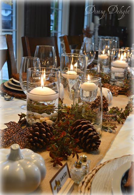 Thanksgiving Tablescape With Cylinder Vase Centerpiece Christmas Table Decorations Christmas Table Decorations Centerpiece Thanksgiving Table Settings