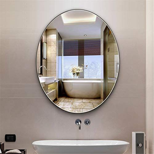 Jajx Hodr Bathroom Mirrors Oval Shape Modern Frameless Bathroom Vanity Wall Mirror Hanging Mirror For W In 2020 Mirror Wall Bathroom Vanity Wall Mirror Bathroom Mirror
