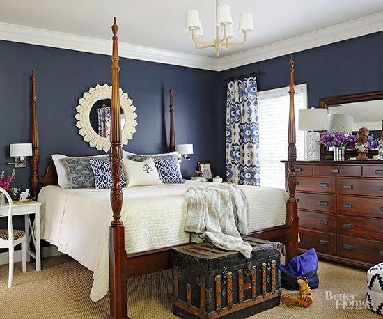 Blue And White Bedroom Design Cool Jeff Lewis' Paint Color Lakethis Grey Washed Wood Frame Bed Inspiration Design