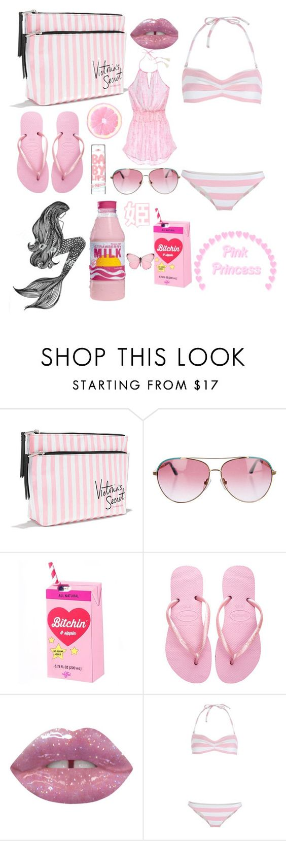 """""""princess pt 37 (beach day)"""" by lolurnotlukehemmingss ❤ liked on Polyvore featuring Suarez, Victoria's Secret, Minnie Rose, Valfré, Havaianas, Maybelline and Solid & Striped"""