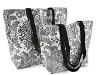 S, M, L Black and White Toile Reversible Oilcloth Totebags. Use any of our fabrics!