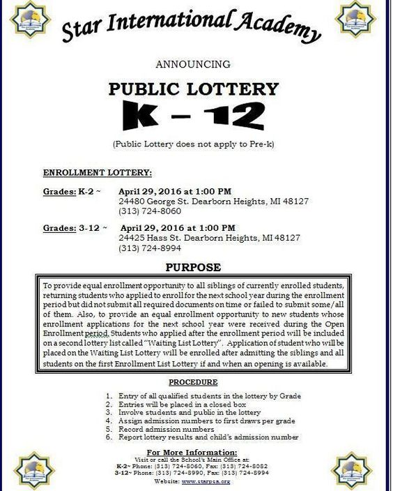 SIA Public Lottery K-12 this Friday April 29 2016