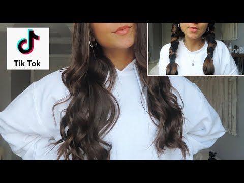 Tik Tok Hairstyles Tik Tok Trend Curling Hair With Socks Youtube In 2020 Curled Hairstyles Curling Hair With Socks Heatless Curls