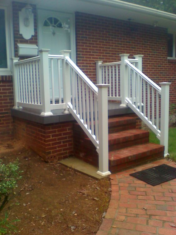 white railing on a concrete porch  boling front porch tile and, Patio