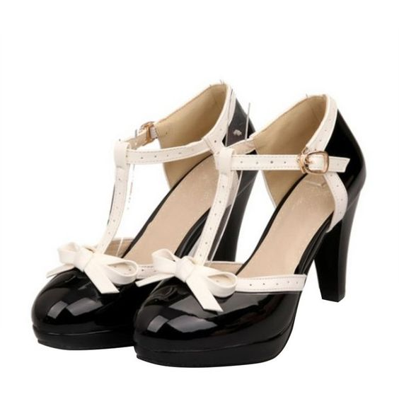 Women's High Heel Bow T-strap Mary Jane Pumps ($32) ❤ liked on ...