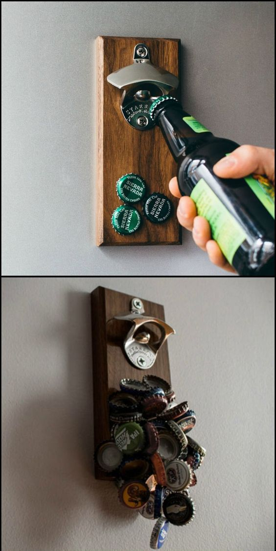 Be ready for everyone to crowd around your bottle opener at the next dinner party, tailgate event or barbecue.  This bottle opener with its mind-numbingly powerful magnet catch can hold over 60 bottle caps.   Do you want one or is it too 'blokey'?: