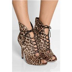 Shoespie Leopard Lace up Peep-toe Stiletto Heels