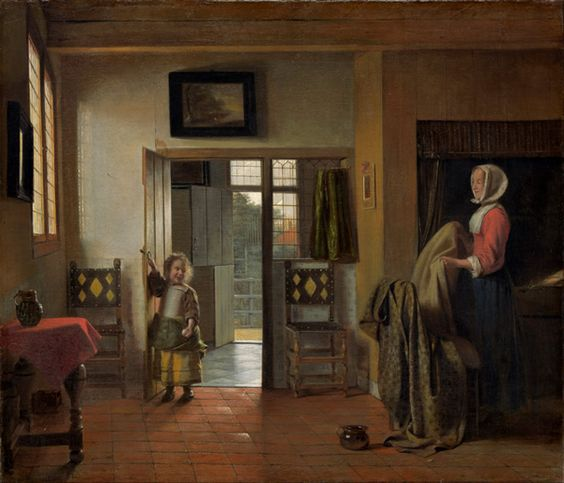 Pieter de Hooch   / The Bedroom,  c. 1658-1660,   Oil on canvas, 61 x 50.8 cm. Staatliche Kunsthalle, Karlsruhe, Germany
