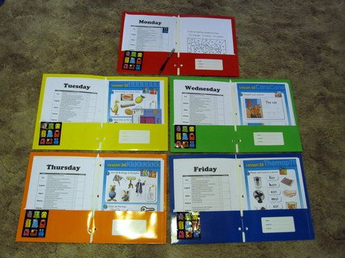 Homeschool organization, a folder of work for each day of the week, all ready to go.