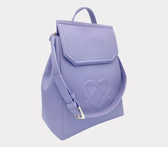 Livia Lavendar vegan mini backpack bookbag gunas new york vegan leather luxury bags