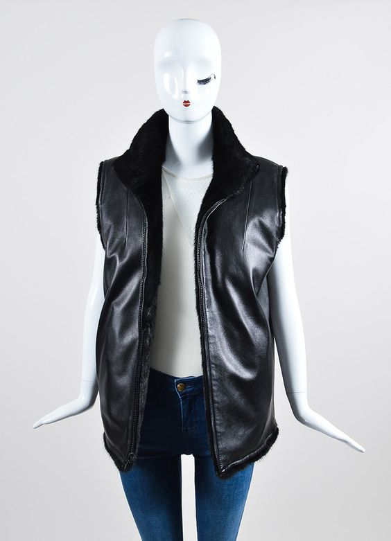 Black Fur and Leather Reversible Raised Collar Zip Front Vest