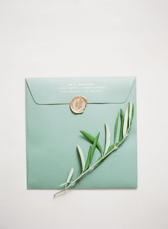 Green wedding envelope + gold wax seal