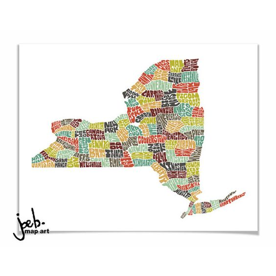 New York typography map new york map art new york art print new – State of New York Map with Cities