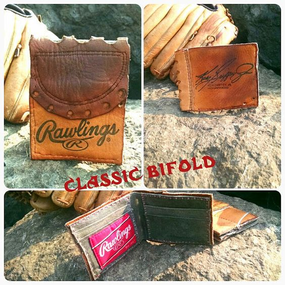 A custom wallet made from a vintage baseball glove! There is nothing better than the aged leather that results from a well used baseball glove. I