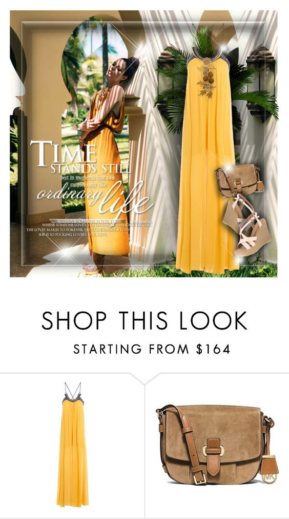 """""""Pretty in Yellow"""" by monazor ❤ liked on Polyvore featuring DV, Roberto Cavalli, MICHAEL Michael Kors, yellow, summerstyle and summer2016"""