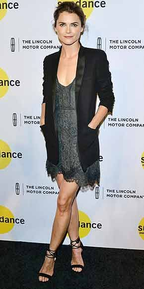Keri Russell in gray lace mini and tuxedo blazer paired with ankle-wrapped sandals.