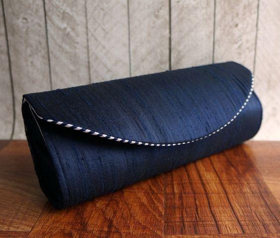 Navy blue silk nautical clutch. Nautical wedding navy by toriska