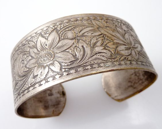 Anitique Silverplate Floral Engraved Cuff by MindiLynJewelry