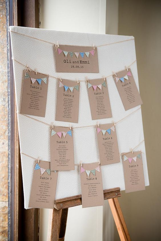 Bunting Table Plan Seating Chart Pretty White Summer Informal - free classroom seating chart maker