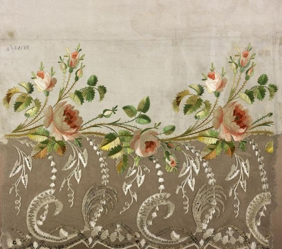 Jean-François Bony, embroidery sample for a dress hem, silk twill embroidered in crewel; satin, split stitch, 1804-1815