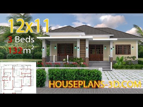 Home Design 12x11 With 3 Bedrooms Hip Roofthe House Has Car Parking And Garden Living Room Dining Room Kitche In 2020 House Plans Small House Design Plans House Roof