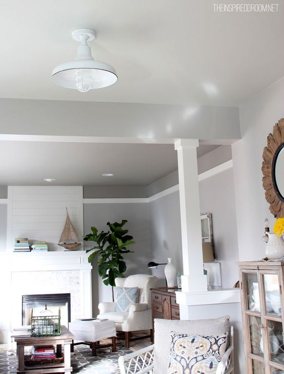 Fireplaces grey and ceiling color on pinterest for Kitchen ceiling colors