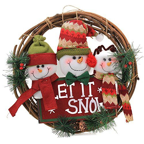 Hanging Ornaments Snowman Pine Needles Rattan Ring Pendant for Christmas Festivals Winter Home Indoor Door Window Wall Decoration. #Christmas #NewYear #Ornament #Decor #giftidea #Gift #gosstudio .★ We recommend Gift Shop: http://www.zazzle.com/vintagestylestudio ★