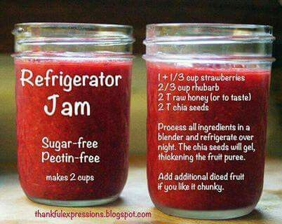 No sugar No pectin Loaded with nutrients!  1 1/3 cup strawberries 2/3 cup rhubarb 2 T raw honey 2 T chia seeds blend and refrigerate over night (adding diced fruit first if you like it chunky)