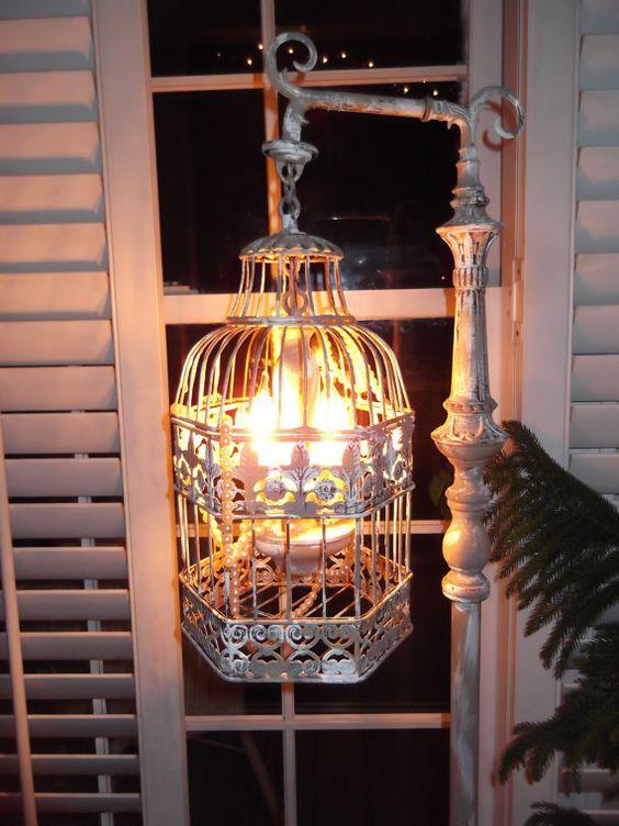 Chandelier floor Lamp ,vintage chandelier bird cage light shabby chic  chandelier, chippy,NOSTALGIC