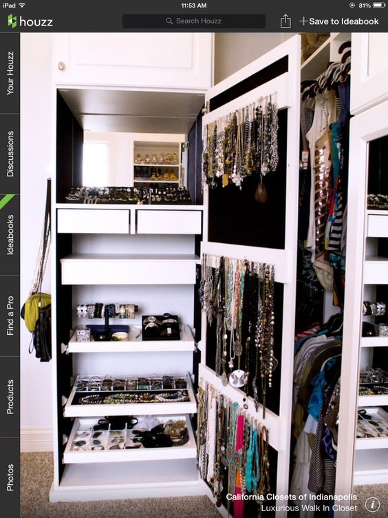Chic way to store jewelry...dream walk in closet for the trendy girl