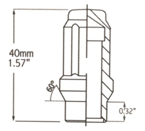 Extended Thread Black, 24 12x1.5 Closed End ET Spline Tuner Lug Nuts for Aftermarket Wheels Lug Nut