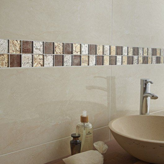 Carrelage mural siena premium en faience botticino 30 x for Carrelage salle de bain brillant