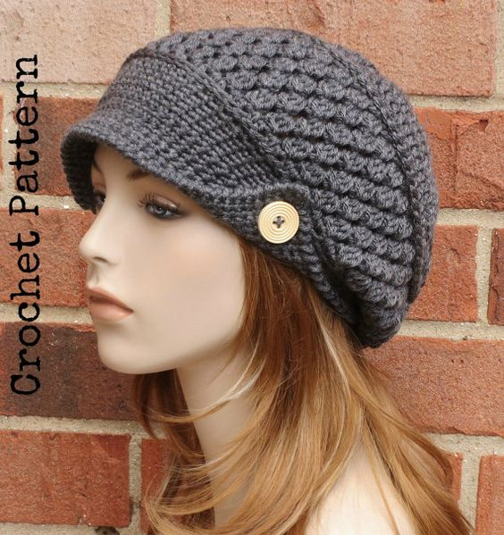 Free Crochet Pattern Slouchy Hat With Brim : CROCHET HAT PATTERN Instant Download Pdf - Finley Newsboy ...